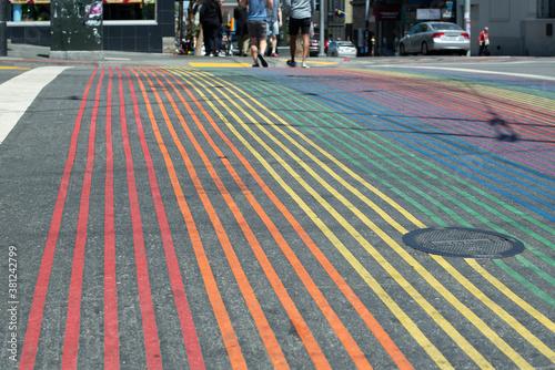 Photo Sidewalk at Castro District Rainbow, Crosswalk Intersection, San Francisco, Cali