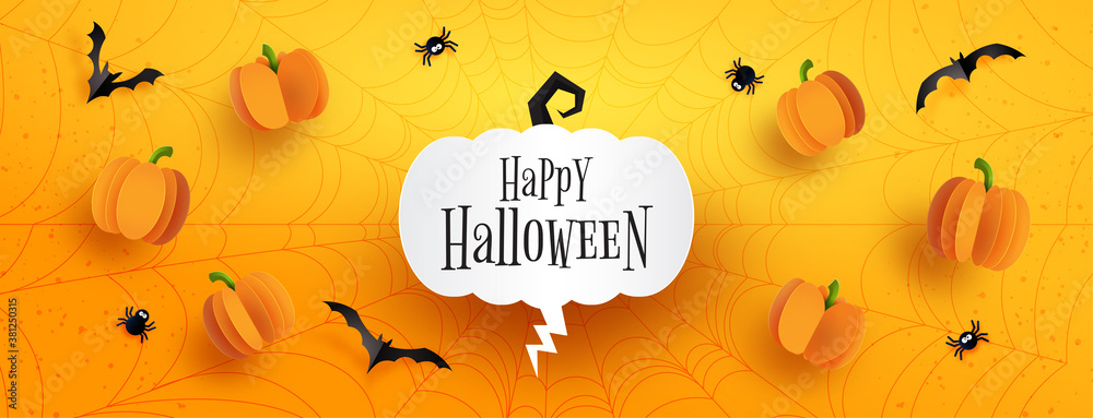 Fototapeta Happy halloween sale banner background template.Halloween pumpkins and flying bats on spider web with orange background paper cut style.