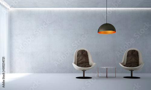 Fototapeta Modern cozy mock up interior design of living room and Wood chairs and concrete wall background obraz