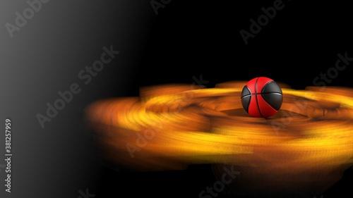 Valokuva Black-Red Basketball and Rotating Hot Iron Star Abstract