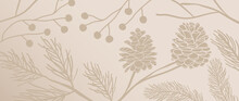 Pine Branches And Cones Background. Winter And Autumn Hand Draw Wall Art. Luxury Wallpaper Design For Winter And Holiday Season, Christmas Tree, Fabric And Print. Vector Illustration.