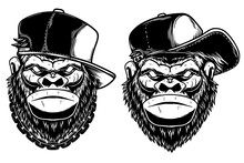 Set Of Illustrations Of Head Of Angry Gorilla With Baseball Cap And Sunglasses In Vintage Monochrome Style. Design Element For Logo, Emblem, Sign, Poster, Card, Banner. Vector Illustration