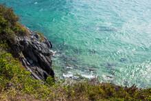 Shiny Azure Sea Water. Rocky S...