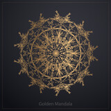 Golden mandala isolated on black background. Vector illustration.