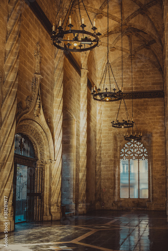 Photo interior of a high cathedral built of stone