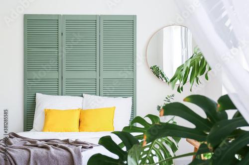 Fototapeta Interior of modern stylish bedroom with mirror obraz