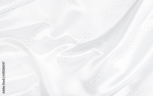Fototapeta White gray satin texture that is white silver fabric silk background with beautiful soft blur pattern natural