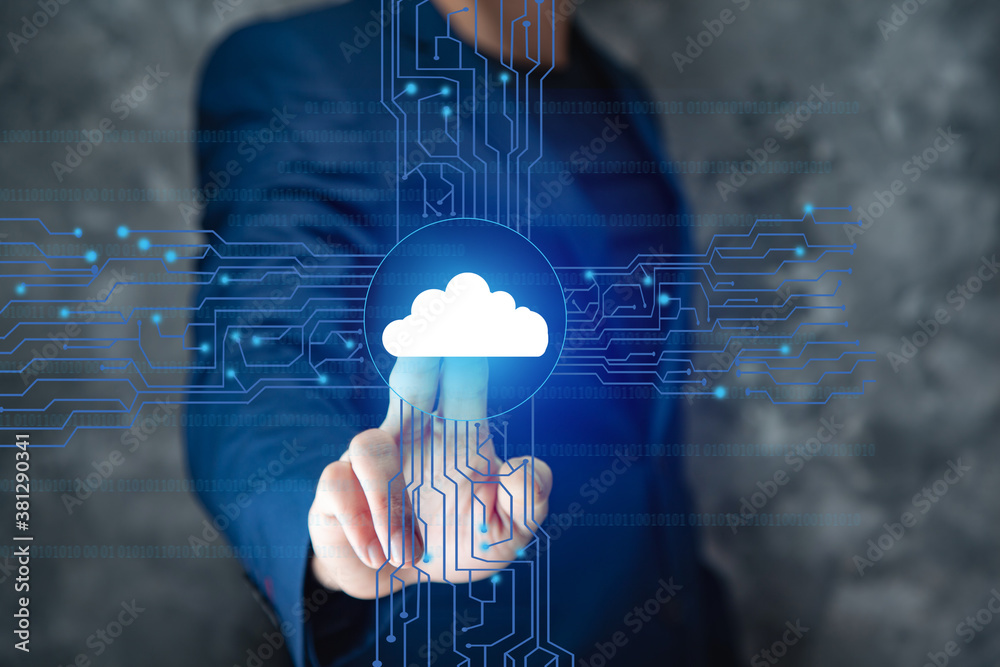 Fototapeta cloud technology and networking concept