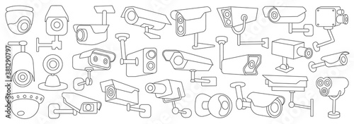 Photo Video camera vector outline set icon