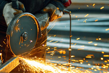 Cutting A Metal Beam Using An Angle Grinder. A Lot Of Sparks Fly Out From Under The Disk