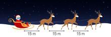 Social Distancing 1,5 Meters. Santa And Reindeers In Face Masks. Vector Illustration.