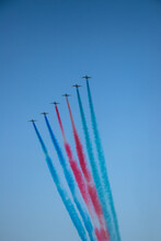 F 16 Military Airplanes. Turkish Stars At Blue Sky. Performance Of The Turkish Aerobatic Team At The Air Show.