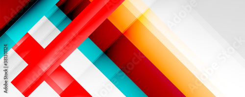 Geometric abstract backgrounds with shadow lines, modern forms, rectangles, squares and fluid gradients Fototapeta