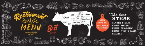 Fototapeta Steak menu for restaurant and cafe. Food flyer. Design layout with vintage lettering and doodle hand-drawn graphic icons. Vector. obraz