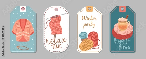 Fototapeta Autumn winter season labels. Knitting hobby, hygge time banners. Wool cardigan, latte or cacao cup vector stickers template. Handmade hobby, winter sewing and needlework template tag illustration obraz