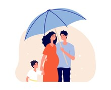 Family Protection Concept. Man Holding Umbrella Under Pregnant Wife And Son. Happy Parents And Child. Life Insurance, Social Protect Metaphor Vector Illustration. Family Protection And Medical Safety