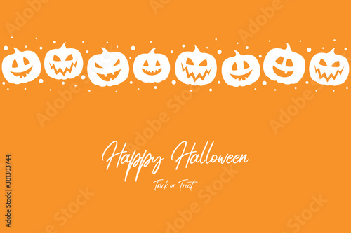 Halloween greeting card. Design with scary pumpkins and copyspace. Vector