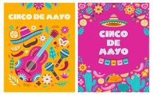 Cinco De Mayo Poster. Mexican Party, Mexico Latin Fiesta Invitation. Spanish Chili, Skulls Flowers Festival Vector Cards Design. Traditional Greeting Mexican Holiday Poster, Festival Mayo Illustration