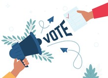 Voting Concept In Flat Style - Hand Putting Paper. Hand Holding Megaphone. Social Media Marketing Concept.