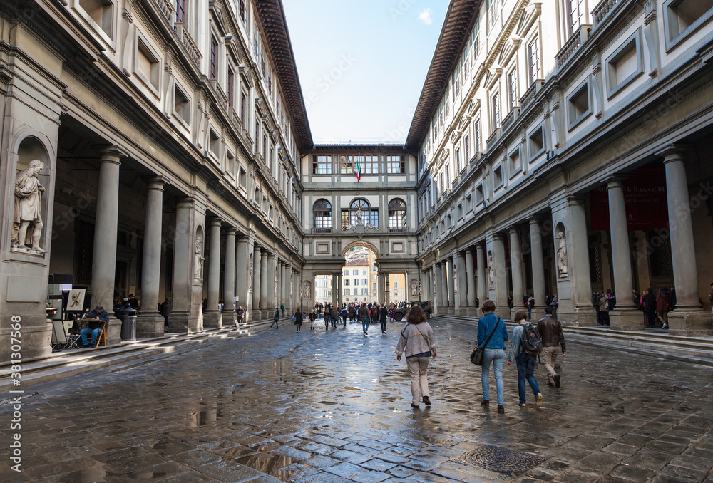 FLORENCE, ITALY - NOVEMBER 6, 2016: yard of Uffizi Gallery. Uffizi Gallery is one of the oldest museums in Europe, its origin refers to 1560, when Vasari designed large palace with two wings