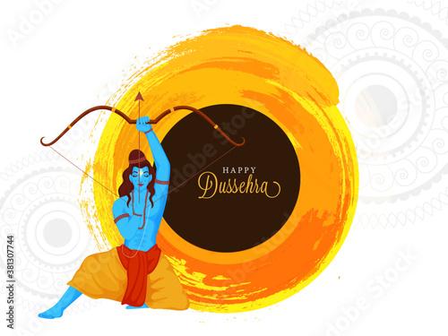 Fotografie, Tablou Happy Dussehra Font with Hindu Mythology Lord Rama Aiming Arrow and Orange Brush Stroke Effect on White Mandala Pattern Background