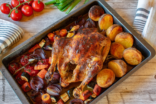 Fotografie, Obraz roasted chicken with vegetables on baking tray from above