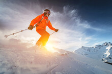 A Man Freerider Skier Rides At...