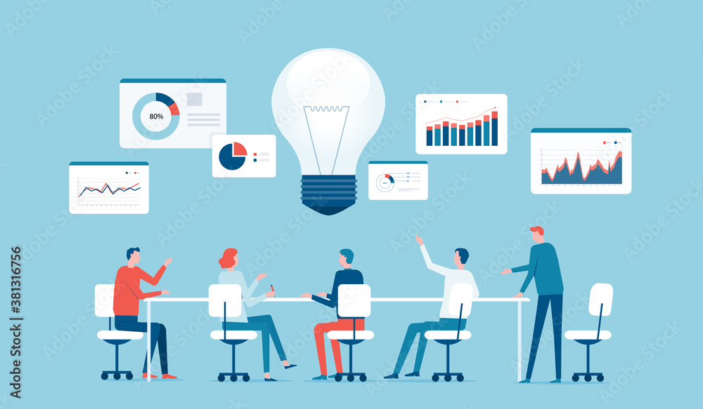 Fototapeta flat vector business team meeting for brainstorming concept