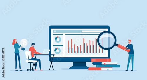 Fototapeta business people analytics and monitoring on web report dashboard monitor concept and vector illustration business people team meeting working obraz
