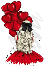 Girl In A Beautiful Dress With Long Hair And A Bow. Fashion And Style, Vintage And Retro. Heart Shaped Balloons. Valentine's Day.