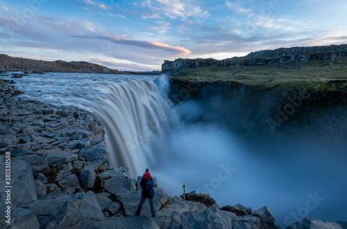 Photo Dettifoss Waterfall at Sunset, Iceland.