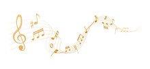 Gold Musical Notes Melody On White Background