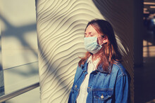Adult Woman In Medical Mask Wi...