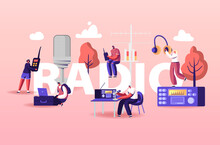 People And Radio Concept. Male And Female Radio Dj Characters In Headset Speak To Microphones, Broadcasting Program