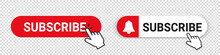 Subscribe Button Set - Different Vector Illustrations - Isolated On Transparent Background