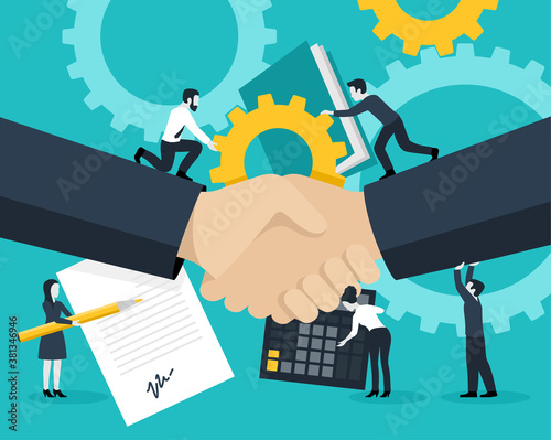 Business team management concept - group of people with handshake, contract documents, gears an calculator - vector illustration