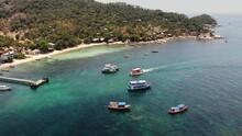 Boats In Calm Sea In Port. Dro...