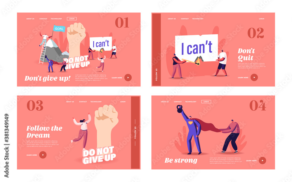 Fototapeta Motivation, Aspiration Landing Page Template Set. Tiny Characters Overcome Obstacles, Climbing on Rock, Goal Achievement
