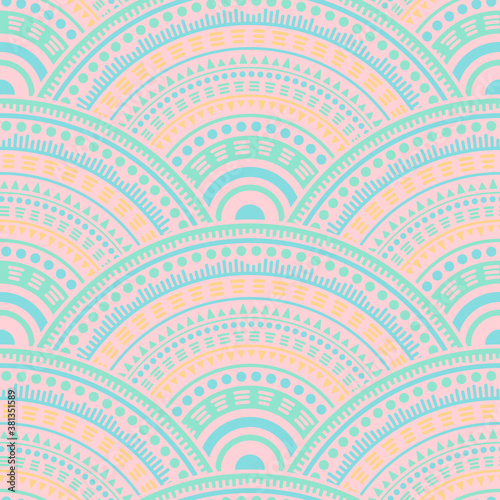 Cuadros en Lienzo Ethnic circle shapes seamless geometric pattern.