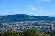 panoramic view from mountain pöstlingberg to the city of linz, upper austria