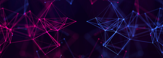Abstract polygonal space with connecting dots and lines. Dark background. Connection structure. 3d Widescreen