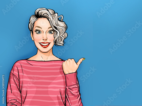 Pop Art smiling Woman showing product .Beautiful girl with curly hair pointing. Presenting your product. Expressive facial expressions