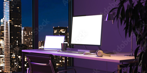 Black PC And Blank Laptop With Big Blank White Monitor, Near Window With Beautiful View At Night City. 3d rendering. Copy Space. Empty Space.