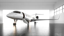 A White Private Jet With Black Wings Is Undergoing Maintenance Before Flying. A First-class Plane Lowered A Gangway For Passengers. Business Concept. Generic Design. Horizontal Mockup. 3d Render.