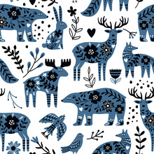 Scandinavian Animals Seamless Pattern. Hand Drawn Cute Creatures Of Wild Nature For Wallpapers Or Posters, Vector Illustration Of Bears And Deers In Nordic Design