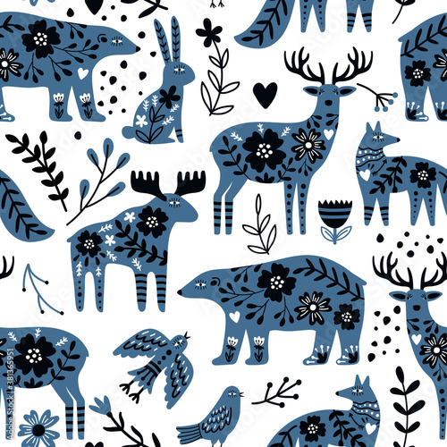 Fototapeta Scandinavian animals seamless pattern