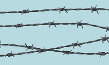 Barbed Wire On Blue Background