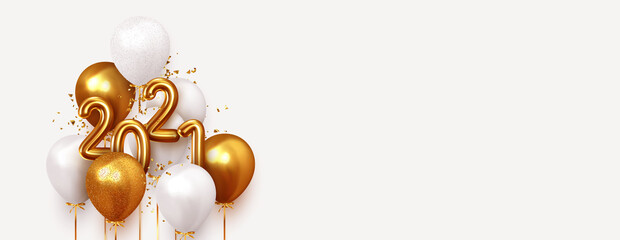 Happy New Year 2021. Realistic gold and white balloons. Background design metallic numbers date 2021 and helium ballon on ribbon, glitter bright confetti. Vector illustration