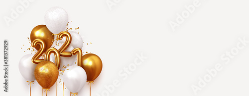 Obraz Happy New Year 2021. Realistic gold and white balloons. Background design metallic numbers date 2021 and helium ballon on ribbon, glitter bright confetti. Vector illustration - fototapety do salonu