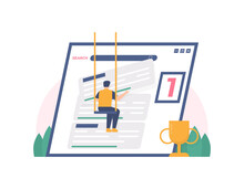 Male Illustration Trying To Climb His Website To Number One On Search Sites Or Search Engines. The Concept Of Seo Optimization And Digital Marketing. Flat Design. Design Elements Or Assets